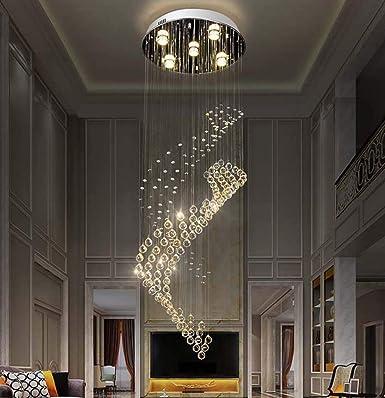 W.Z.H.H.H Lámpara Colgante Sencilla Circular Doble Escalera de Caracol Sala de Estar de la lámpara de Larga Diámetro * Altura 400 1200MM (5 Cabeza) Colgante de luz: Amazon.es: Iluminación