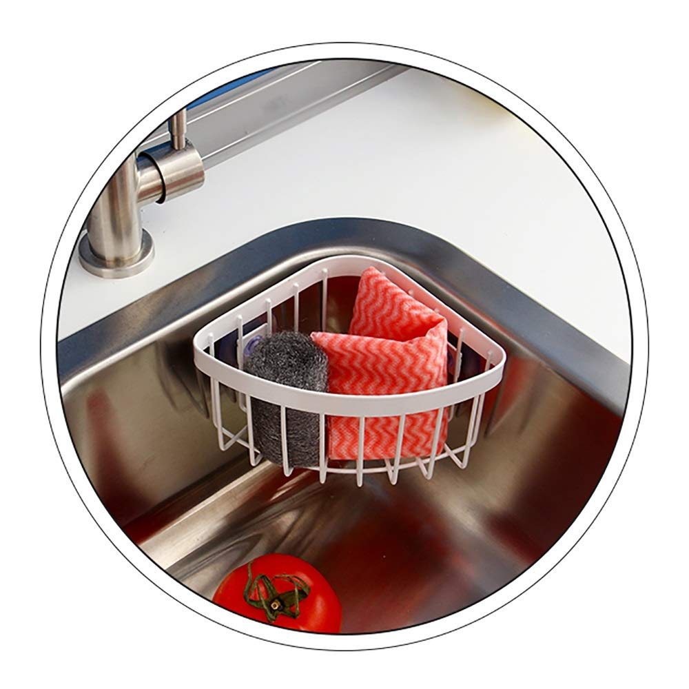 Sink Caddy with Strong Suction Cups-Small Sponge Holder Made of Coated-Compact Soap Holder for Bathroom Sink or Kitchen Sink-Metal by Guoqing (Image #3)