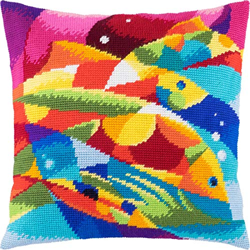 (Abstract Fish. Cross Stitch Kit. Throw Pillow Case 16×16 Inches. Home Decor, DIY Embroidery Needlepoint Cushion Cover Front, Printed Tapestry Canvas, European Quality. Abstract, Rainbow,)