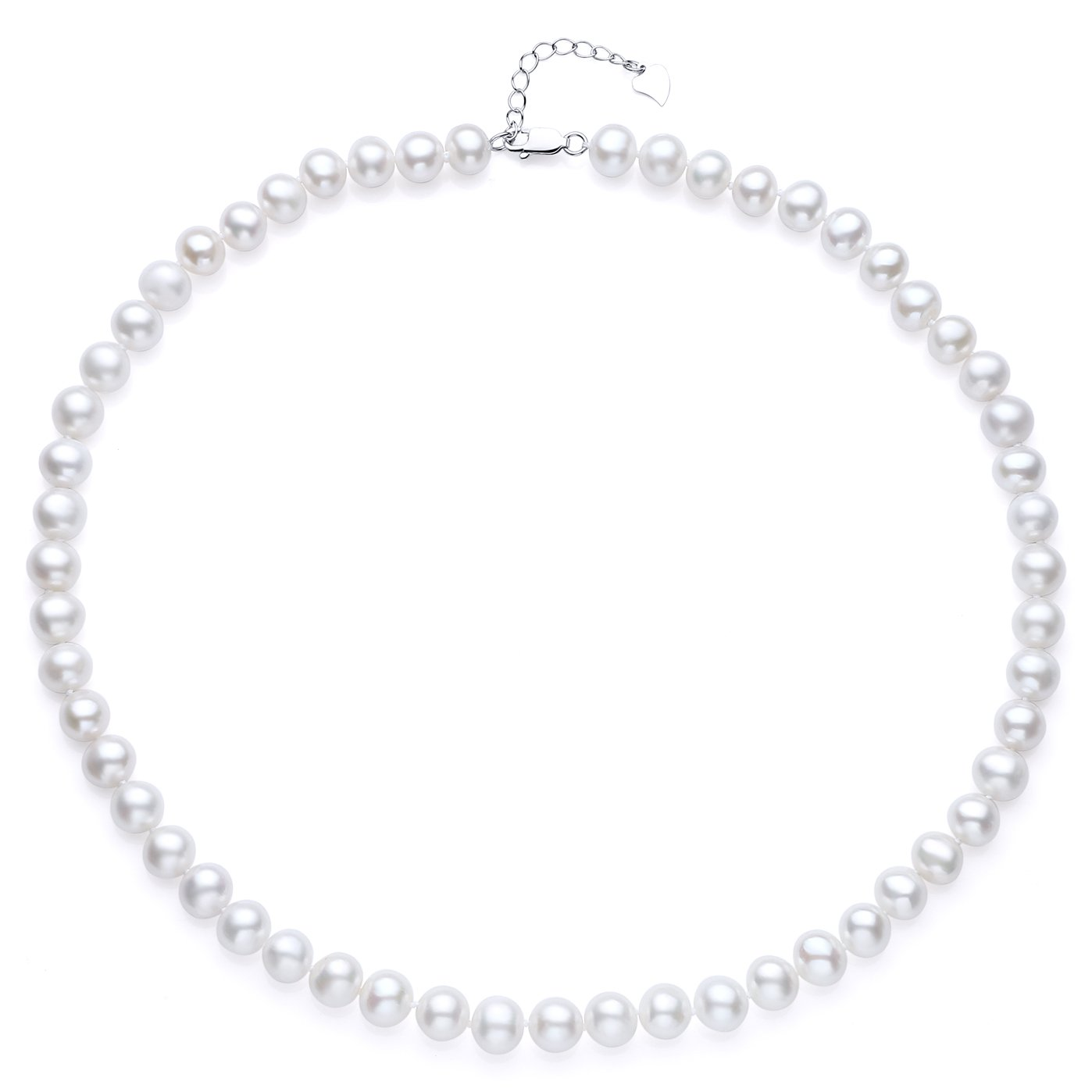 Sterling Silver AA Quality White Freshwater Cultured Pearl Necklace, 18 Inch JORA 1007652