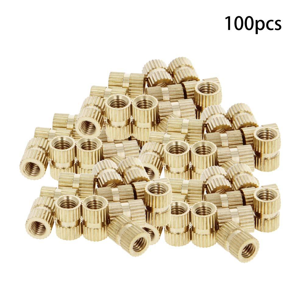 MroMax 100PCS M2 x 3.2 x 3mm Female Thread Nuts Brass Threaded Insert Embedment Nuts Assortment Kit for Wood Furniture