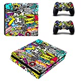eXtremeRate Full Faceplates Skin Console & Controller Decal Stickers for PS4 Slim Console Skin X 1 + Controller Skin X 2