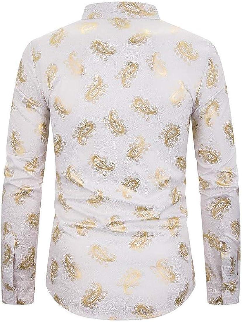 Joe Wenko Mens Paisley Print Long-Sleeve Dashiki Stand Collar Shirt