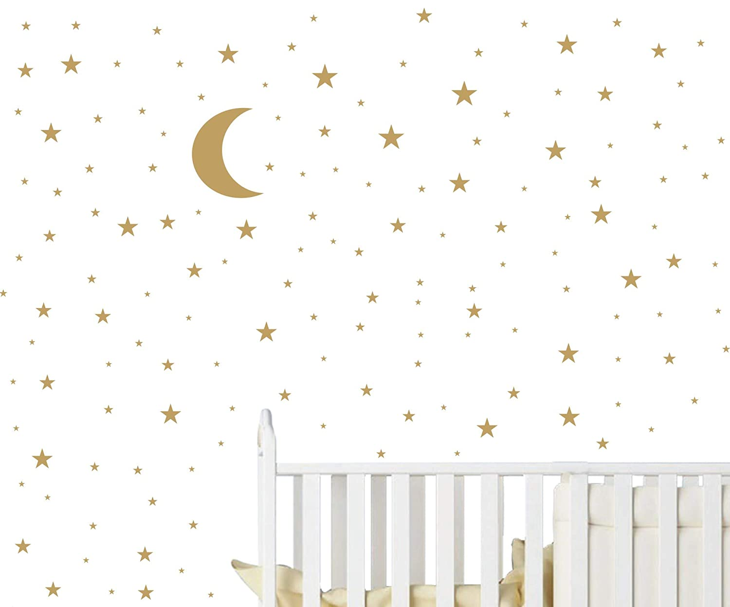 JOYRESIDE Moon and Stars Wall Decal Vinyl Sticker for Kids Boy Girls Baby Room Decoration Good Night Nursery Wall Decor Home House Bedroom Design YMX16 (Soft Pink) JURUOXIN