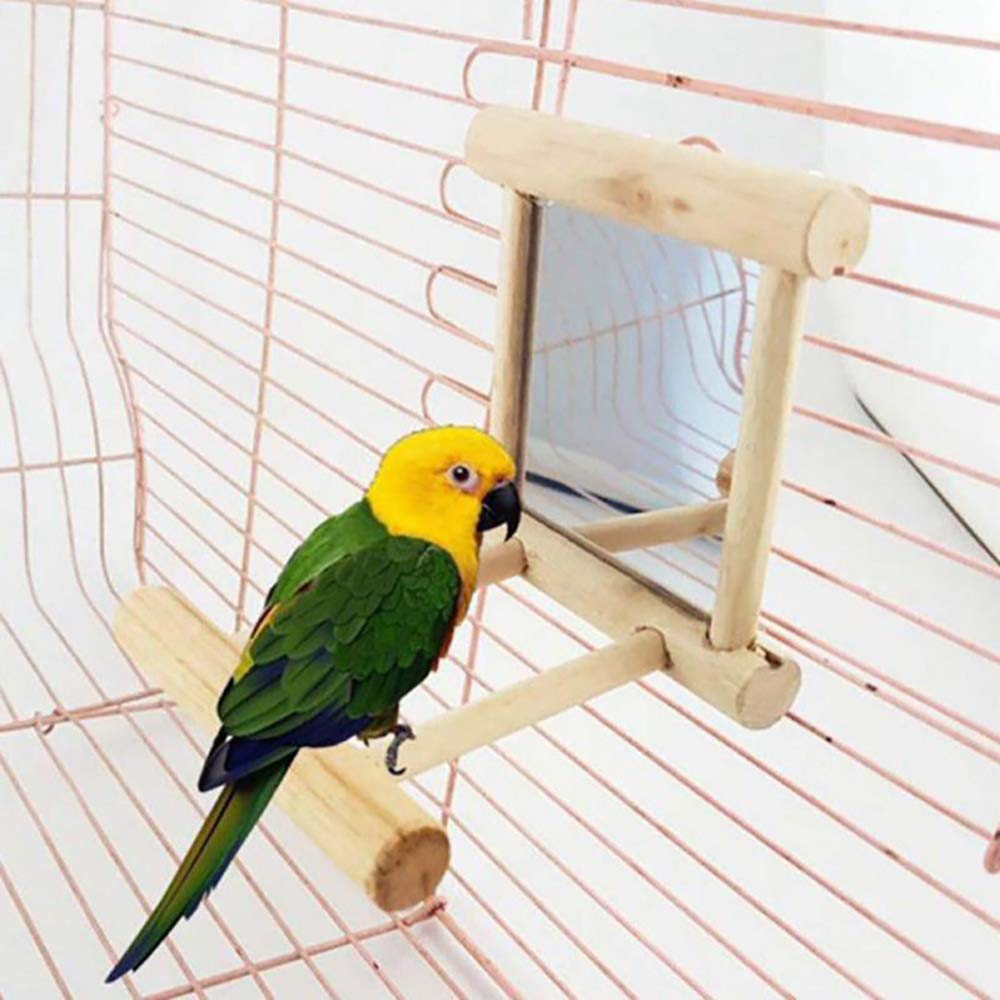 Bird Swing with Mirror, Wooden Parrot Cage Toys, for Macaw African Greys Parakeet Cockatoo Cockatiel Love Birds Canaries Pingenaneer