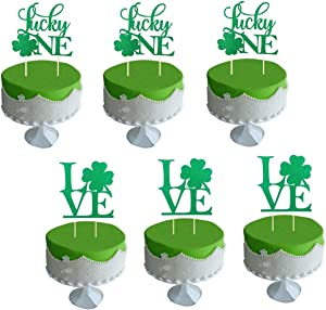 JANOU Lucky One Love with Shamrock Green Glitter Cake Topper St. Patrick's Day Party Decoration Pack 6pcs