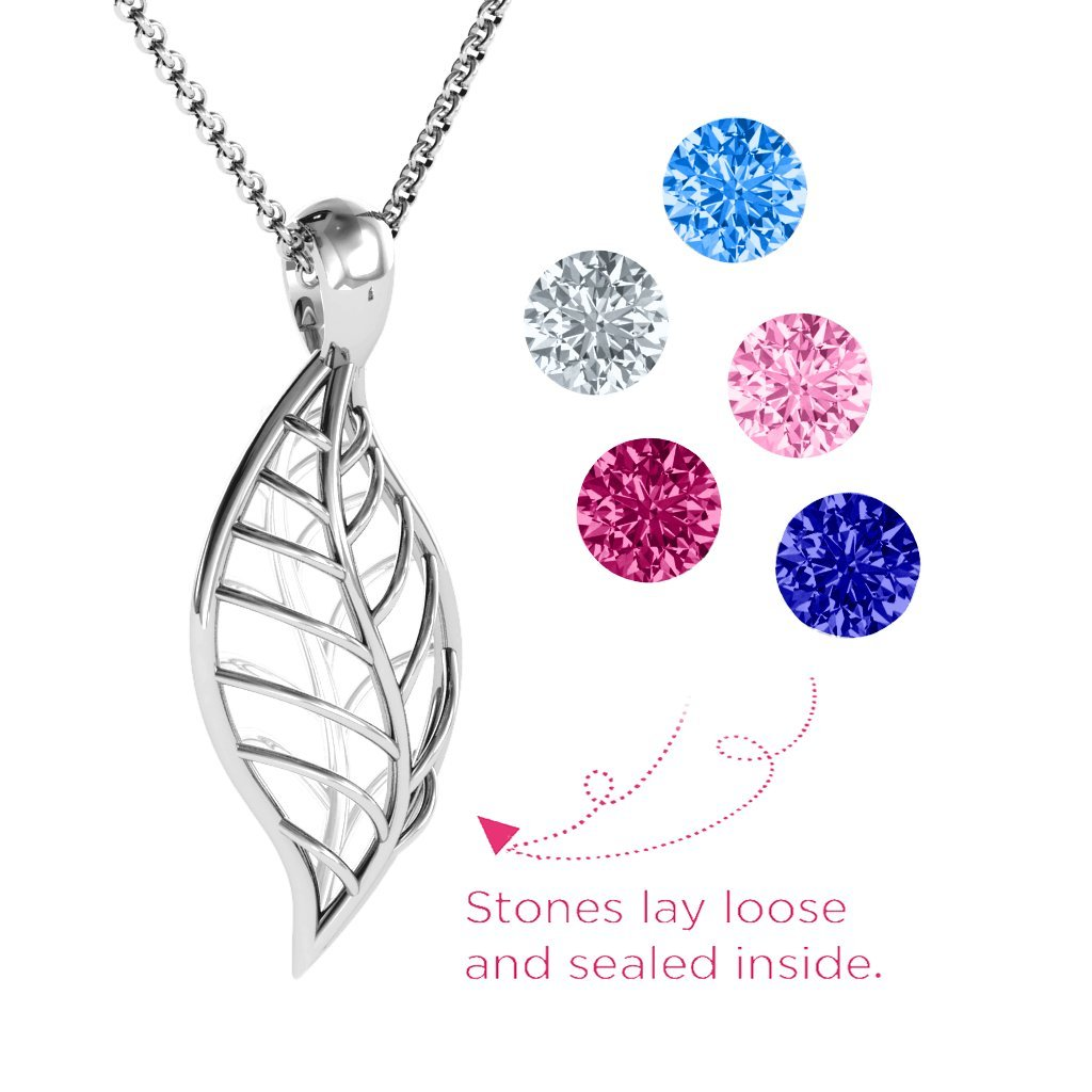 Sterling Silver Encourage-Mint Cage Leaf Pendant with Personalized Birthstones by JEWLR