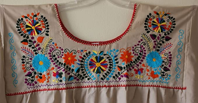 Xl 2x Hand Embroidered Mexican Peasant Hippie Boho Blouse Plus Size