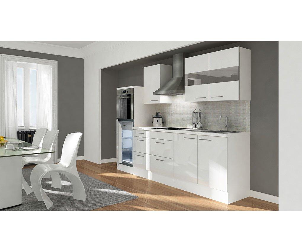 respekta Küchenleerblock 270 cm weiß Fronten weiß Hochglanz