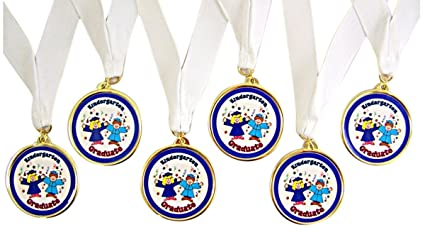 amazon com pack of 6 blue kindergarten graduation award medals on