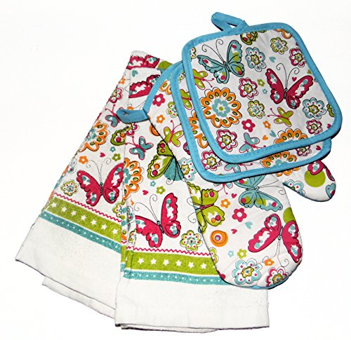 5 Piece Spring Butterflies, Flower, Floral Set with Potholders, Oven Mitt & Towels