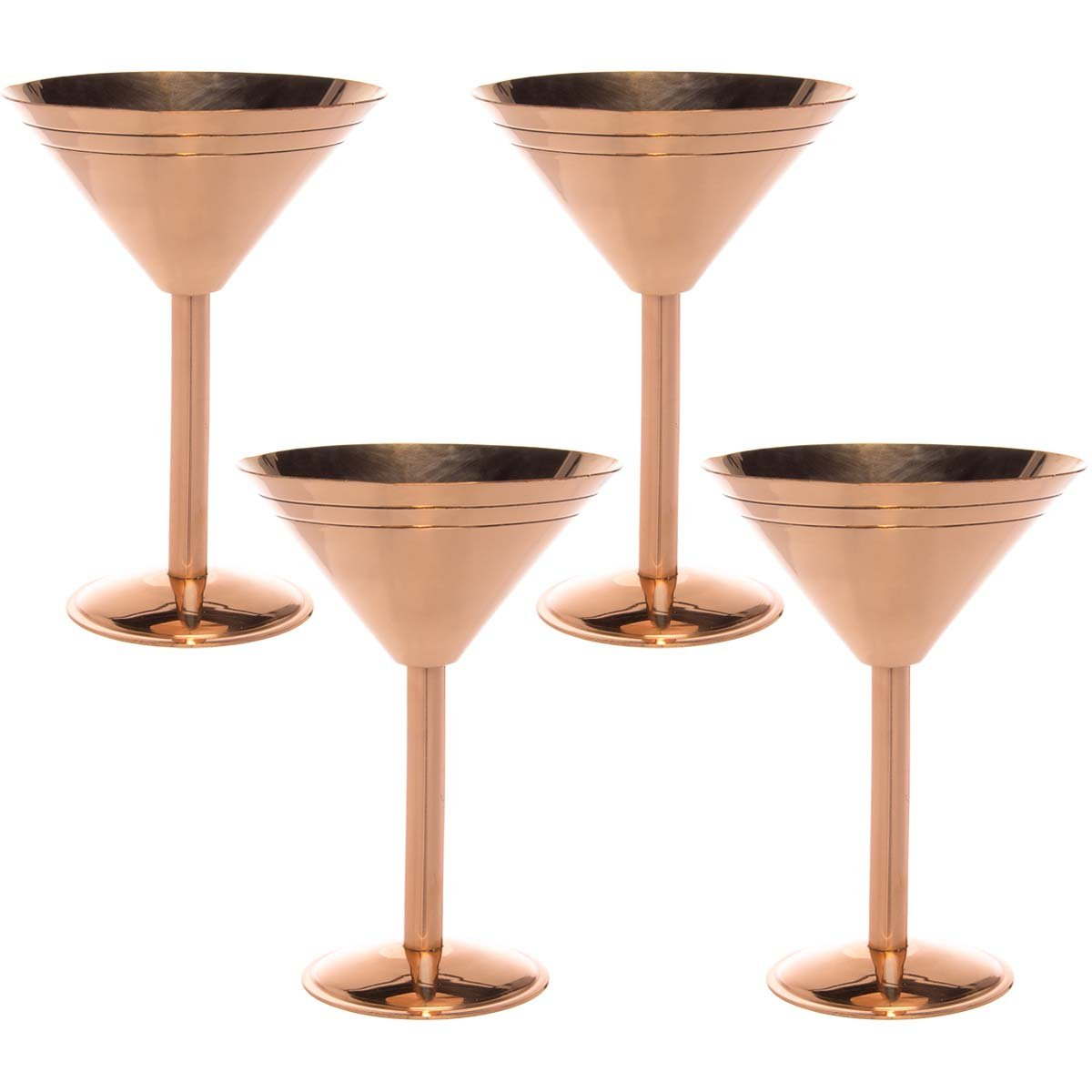 Old Dutch (4 Pack) Solid Copper Martini Glasses 9oz Vintage Cocktail Glasses Set Party Drinking Cups