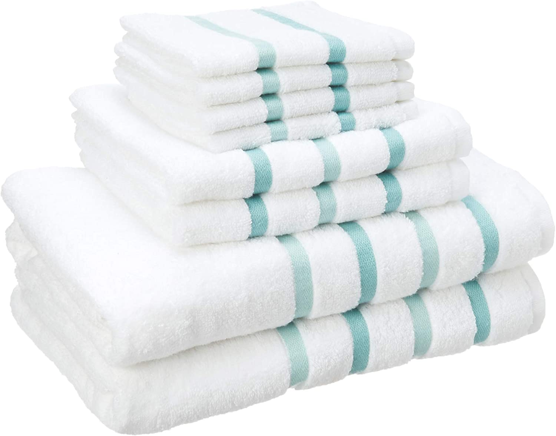 Comfort Spaces Cotton 8 Piece Bath Towel Set Striped Ultra Soft Hotel Quality Quick Dry Absorbent Bathroom Shower Hand Face Washcloths, 28x54, Aqua