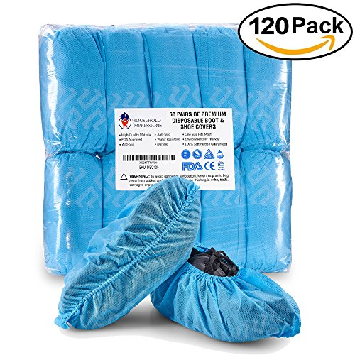61b35bd7af84 HouseHold Impressions 120 Pack Extra Thick Large Disposable Blue Shoe   Boot  Covers for Indoor Outdoor ...