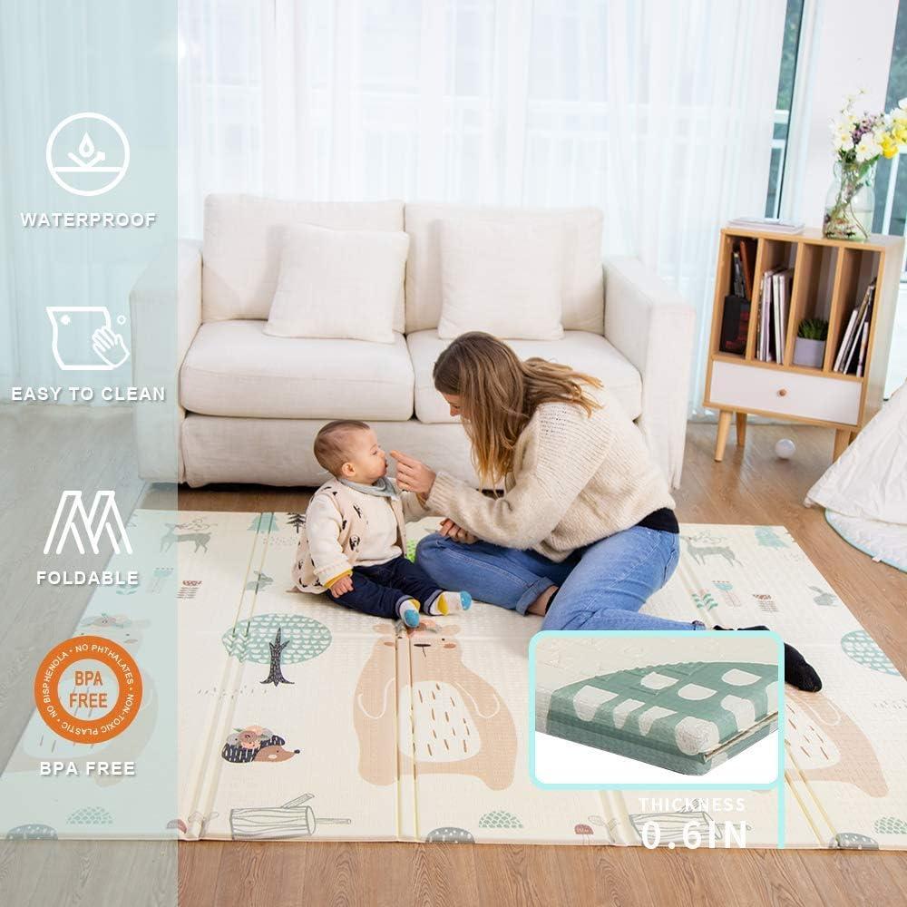 bebé juego cojín almohadilla de juego almohadilla de espuma engrosada colchoneta plegable de trepar impermeable y portátil apto para niños(Oso)