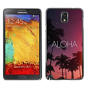 Be Good Phone Accessory // Dura Cáscara cubierta Protectora Caso Carcasa Funda de Protección para Samsung Note 3 N9000 N9002 N9005 // aloha Hawaii night sky stars text pink