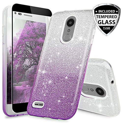TJS Case for LG Aristo 2/Aristo 2 Plus/Aristo 3/Aristo 3 Plus/Tribute Dynasty/Tribute Empire/Fortune 2/Rebel 3 LTE [Full Coverage Tempered Glass Screen Protector] Glitter Paper Phone Cover (Purple) ()