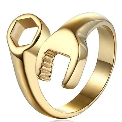 Amazon.com: lilileo joyas de oro anillo de acero inoxidable ...