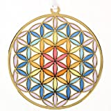 『うさやusa-ya』 Flower of Life Stained Glass Style Ornament from Japan 3.22''