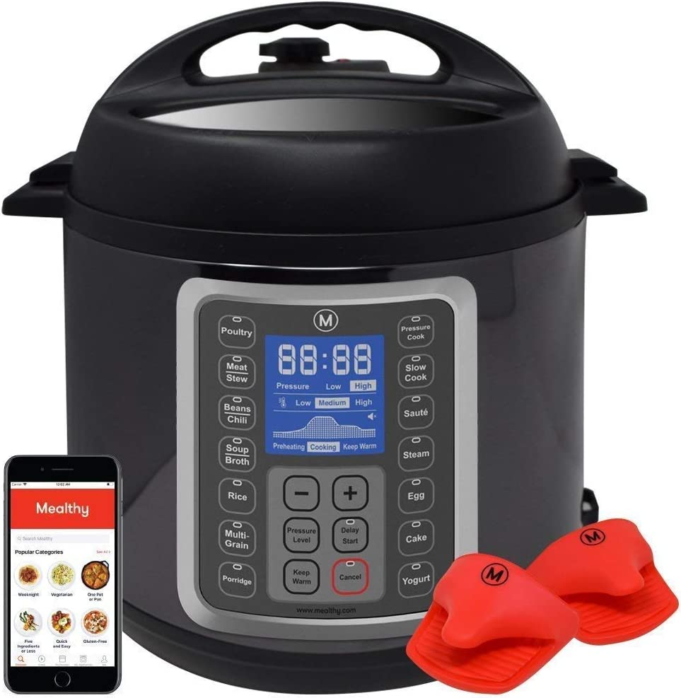 Mealthy MultiPot 9-in-1 Programmable Pressure Cooker 8 Quart with Stainless Steel Pot, Steamer Basket, instant access to recipe App. Pressure Cook, Slow Cook, Saut , Egg, Hot Pot, Rice Cooker, Yogurt