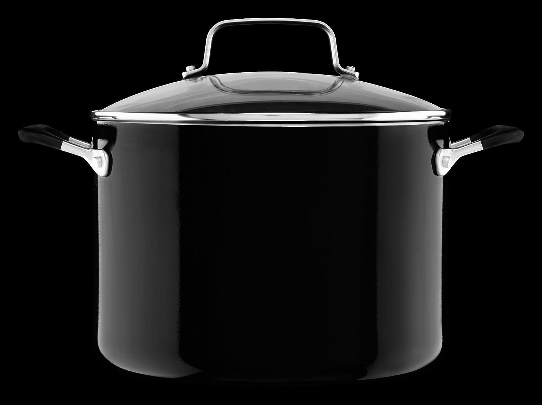 Medium KitchenAid KC2A80SCOB Aluminum Nonstick 8.0 quart Stockpot with Lid Onyx Black