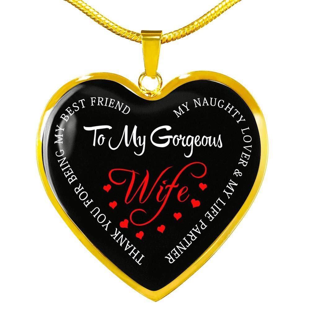 Unique Birthday Gag Gifts for Wife Girlfriend Fiancee Wife Heart Pendant Custom Gifts from Husband ThisYear to My Wife Gorgeous Necklace Chain