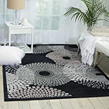 """Nourison Graphic Illusions (GIL04) Black Rectangle Area Rug, 5-Feet 3-Inches by 7-Feet 5-Inches (5'3"""" x 7'5"""")"""