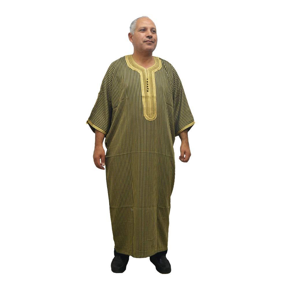 Chilaba djellaba para Hombre Estilo /árabe Marrakech de algod/ón con sat/én Raso Muy c/ómoda Ancho sisa 70 cm x Largo 140 cm