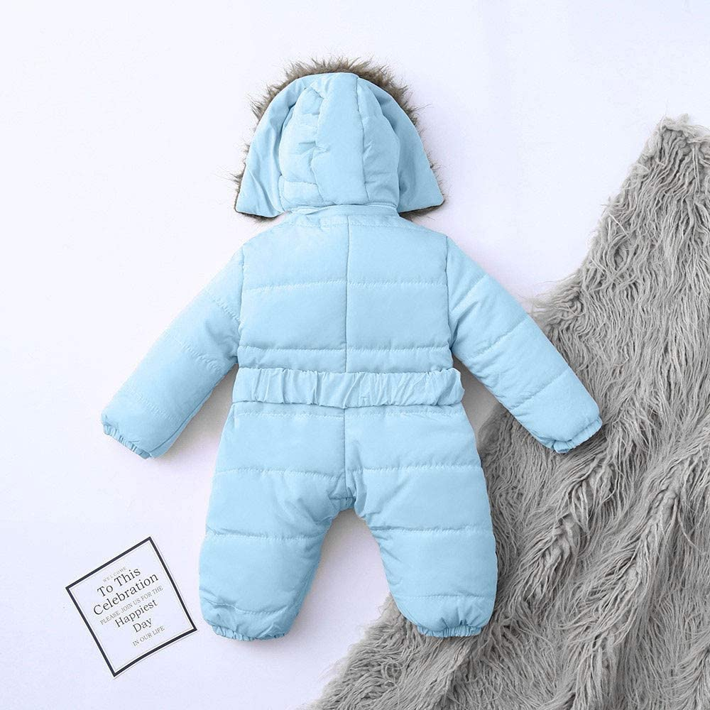 Unisex Baby 1 Piece Long Sleeve Winter Coat,Infant Baby Boy Girl Solid Zipper Romper Jacket Jumpsuit Thicker Warm Hooded Outwear Outfit Clothes