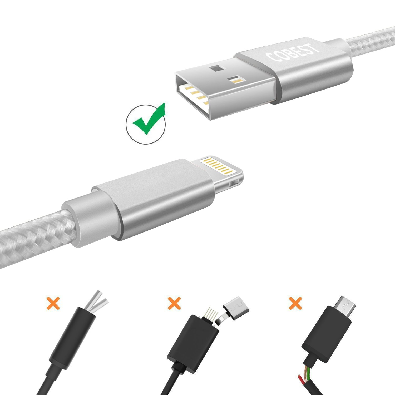 d83837f754a Cable USB Cargador Cable Carga Rapida 1m Nylon Cable USB de Datos para  iPhone X/8/7/7 Plus/6S/6S ...