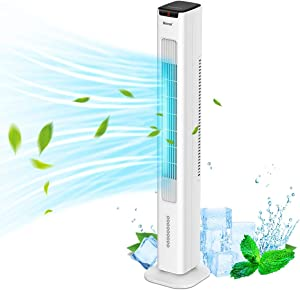 WANAI 2-in-1 Evaporative Air Cooler & Tower Fan, 42 inch Portable Oscillating Tower Fan 1.7L Water 3 Wind Speeds 4 Modes 60°Oscillation 15H Timer Digital LED Display for Home and Office