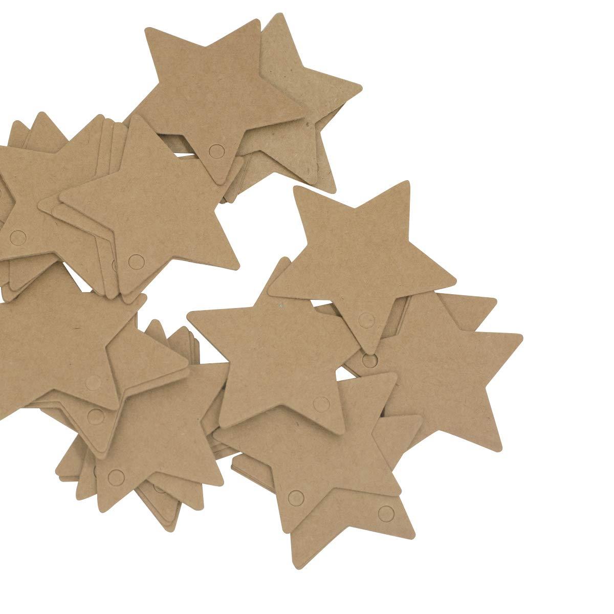 Boenfu 100 pz stella, vuoto stella in carta kraft etichette per regali Cards bagagli etichette regalo etichette per bagagli di nozze festa party compleanno casa Natale ornamento DIY tag