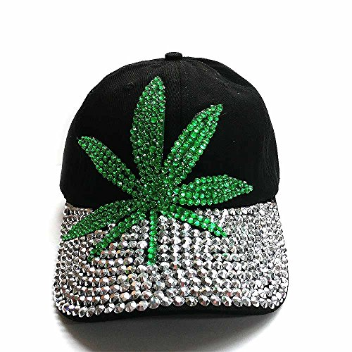 Black Cotton Rhinestone MARIJUANA Design Adjustable Baseball Cap