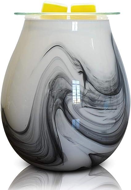 Equsupro Glass Wax Melt Warmer Electric Essential Oil Fragrance Melter Oil Burner Night Light Aroma Decorative For Home Office Bedroom Living Room Gifts Ink Wave Amazon Co Uk Kitchen Home