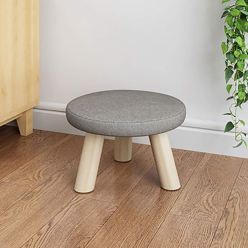 D&L Solid Wood Round Footstool Ottoman Pouffe Cute Stool for Kids Thicken Cushion 4 Legs Removable Linen Cover-A L28xW28xH19cm by D&L