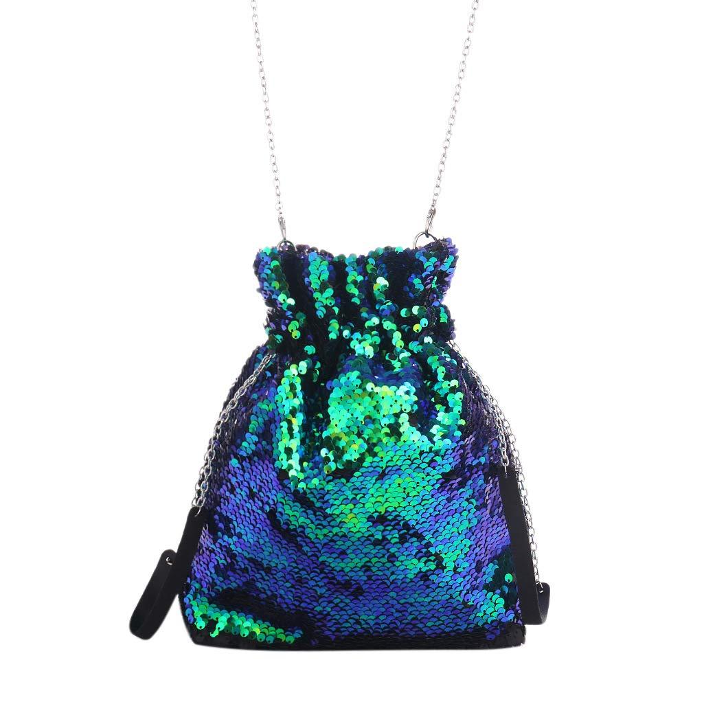 Silver/&Blue QTKJ Reversible Mermaid Sequin Crossbody Bucket Bag Drawstring Magic Shoulder Bags Valentines Day Gifts for Women
