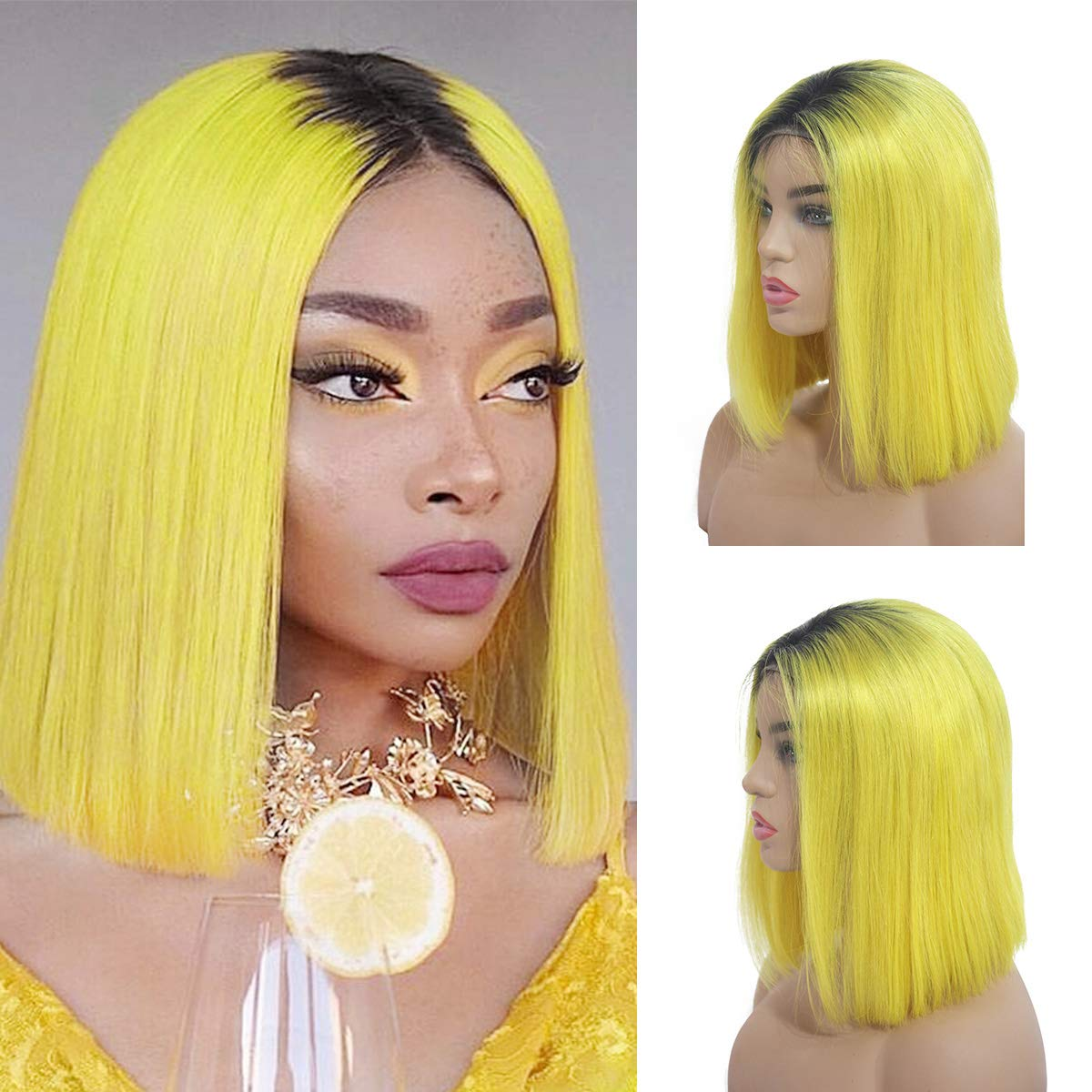 Ombre Yellow Lace Front Wigs Short Bob Human