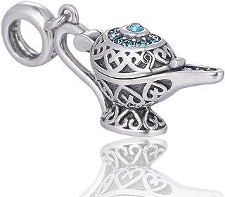 Disney Charms Aladdin Lampe, Silberschmuck, Märchengeschenk für Sie – Disney Halskette Charm – Glücksbringer für Armband