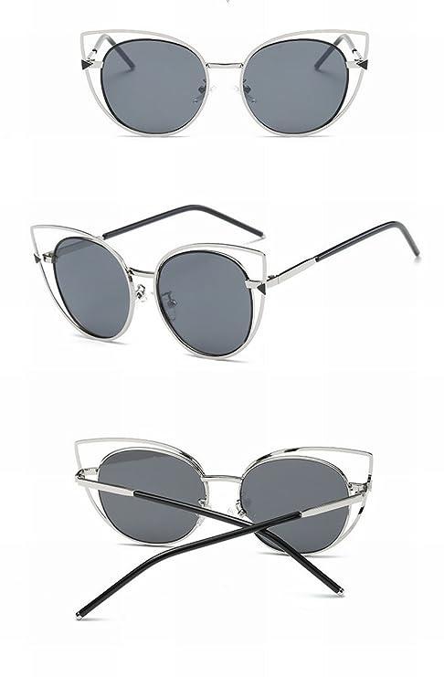 Personalisierte Sonnenbrille Koreanische Mode Brille Weibliche Katze Auge Metall Sonnenbrille , Goldrahmen Weißer Kreis Doppelt Grau Blatt
