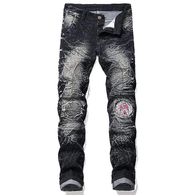 Hombres Jeans Slim-Fit Pantalones Vaqueros de Moto de ...