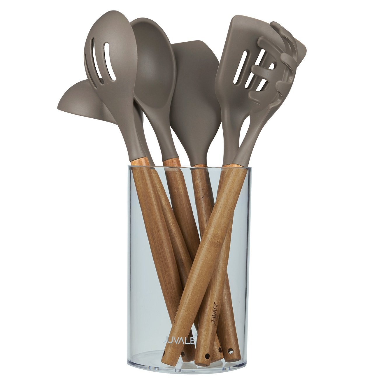 Juvale Kitchen Utensil Set - Gourmet Non-Stick Silicone Cooking Tools Bamboo Handles - Ladle, Spatulas, Spoons, Pasta Server - Tan/Grey - 7-Piece Set Including Holder