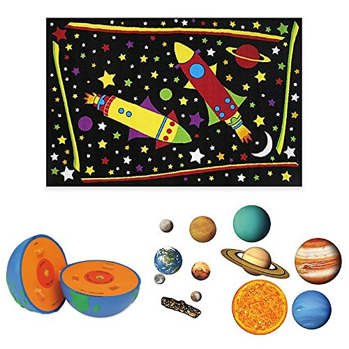 Cross Earth Section Model (Fun Rugs Outer Space 4-Foot 10-Inch x 3-Foot 3-Inch Area Rug, Learning Resources Cross-Section Earth Model and 13-Piece Giant Magnetic Solar System Set, Solar System, Earth Model, Area Rug For Kids)