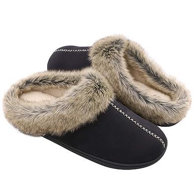 e99b295ee16daa Men s Soft Memory Foam House Slippers Micro Suede Plush Fleece Anti-Skid  Bedroom Shoes w
