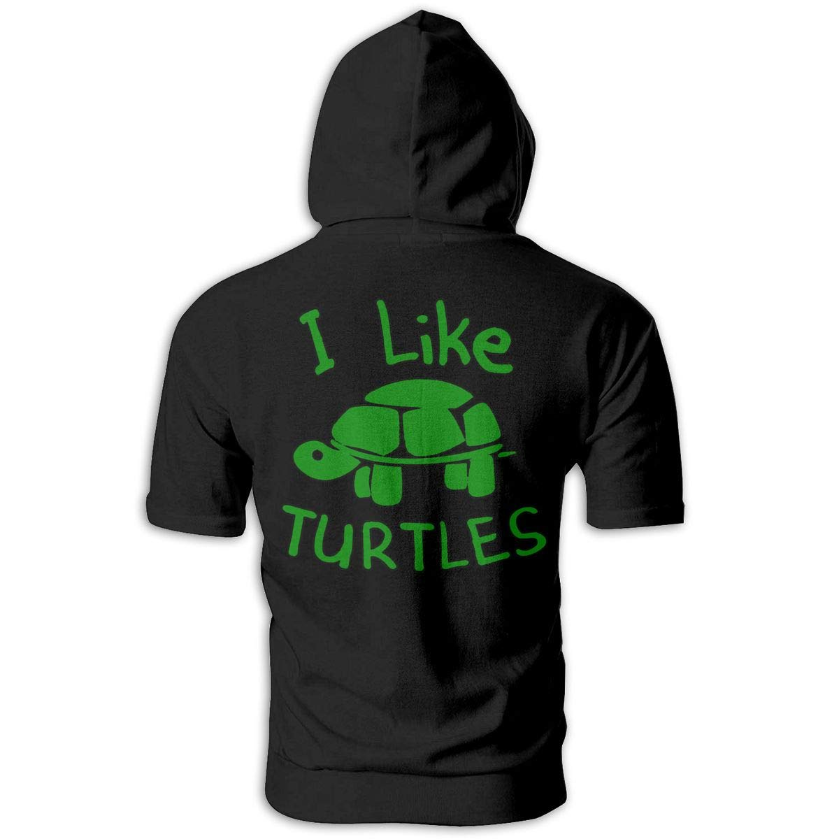 I Like Turtles Mens Hipster Short Sleeve Hoodie Pullover Soft Hooded T-Shirt