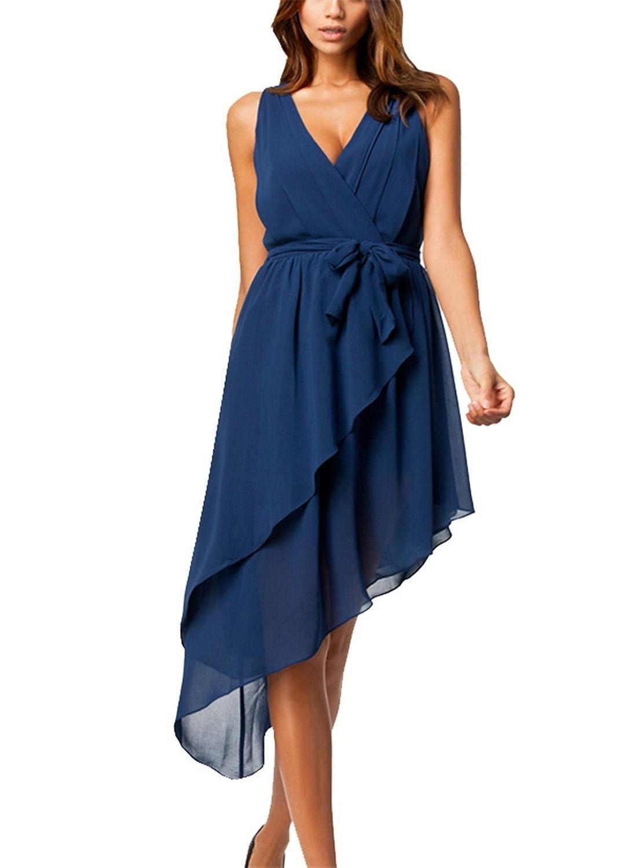 Lymanchi Damen Sommerkleid Ärmellos V-Ausschnitt Chiffon Kleid ...