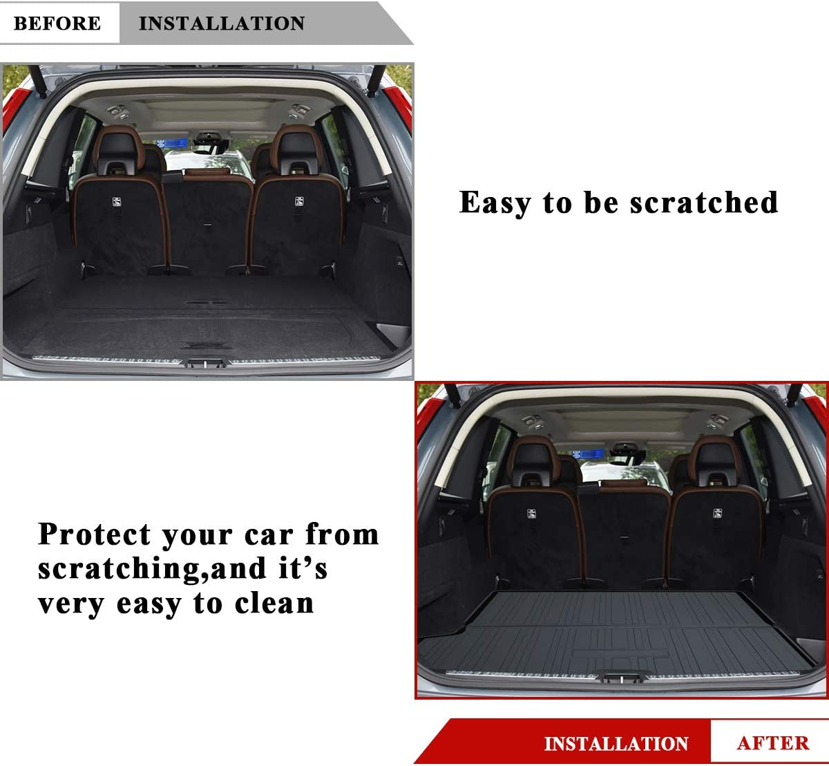 Size : Volvo S40 2006-2012 For XC90 2015 2016 2017 2018 2019 Vehicle Rear Cargo Liner Trunk Tray Floor Mat Sheet Carpet Luggage Tray Waterproof