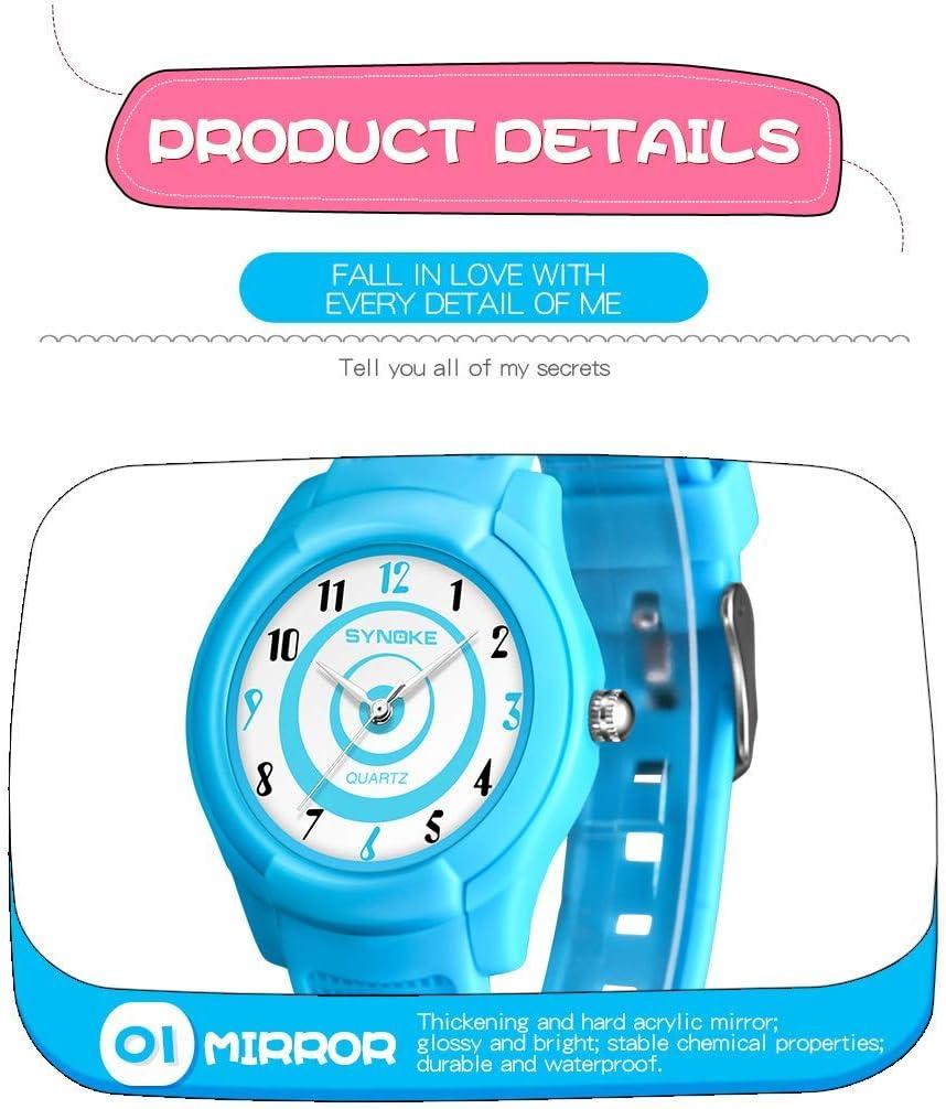 Montres numériques pour enfants, mince WR50M natation montre étanche sport facile à lire à la mode multifonctionnel grand visage Quartz montre-bracelet temps enseigner garçon fille enfants cadeau d' White