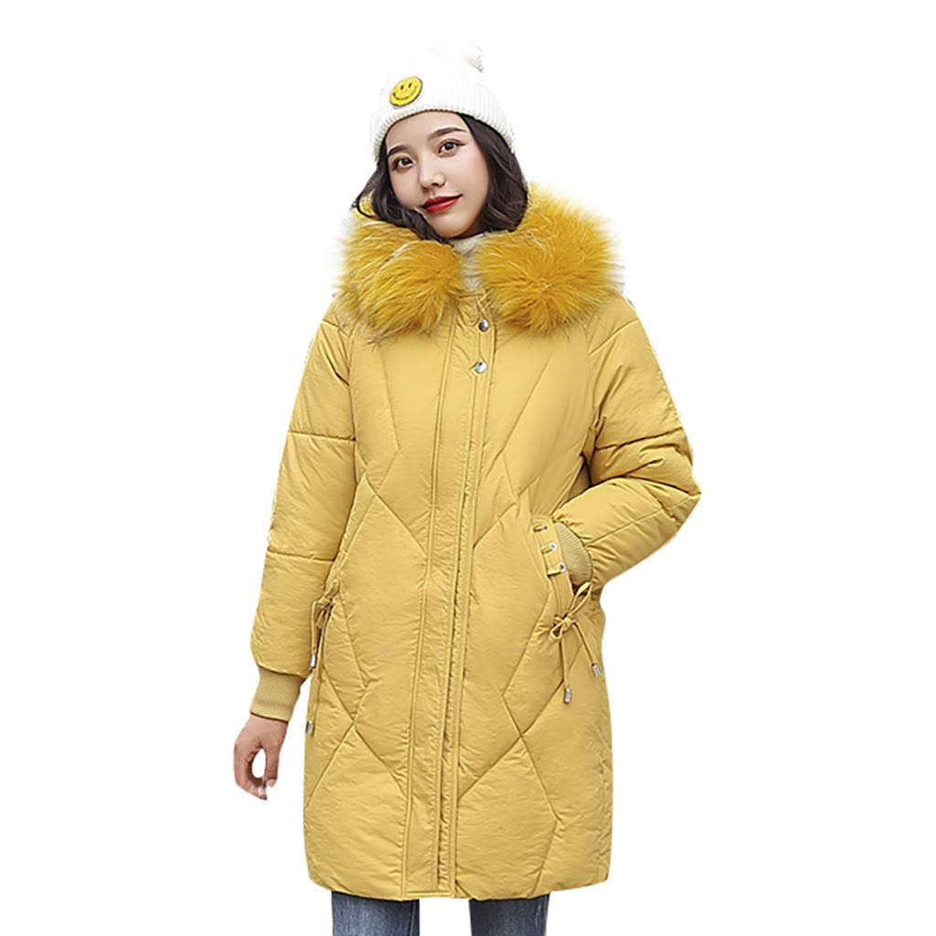 Fashionhe Hooded Down Jackets Windproof Overcoat Warm Outerwear Long Sleeve Cotton-Padded Pockets Bandage Coats(Yellow.XXL) by Fashionhe