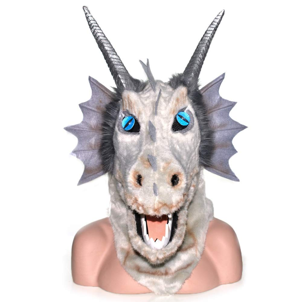 KX-QIN Halloween Carnival Animal Cosplay Party Grey Dragon Head Moving Mouth Animal mask Deluxe Novelty Halloween Costume Party Latex Animal Head Mask for Adults and Kids (Color : Gray) by KX-QIN