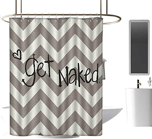 Quote Shower Curtain Get Naked Heart Zig Zag Print for Bathroom